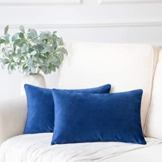 Phantoscope Pack of 2 Velvet Decorative Throw Pillow Covers Soft Solid Square Cushion Case for Couch Navy Blue 12 x 20 inches 30 x 50 cm