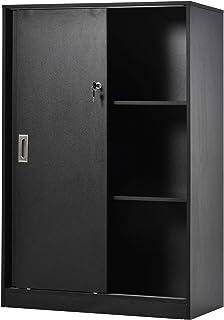 HOMCOM Armoire de Bureau 2 Portes coulissantes verrouillables dim. 80L x 40l x 120H cm 2 étagères Panneaux Particules Noir