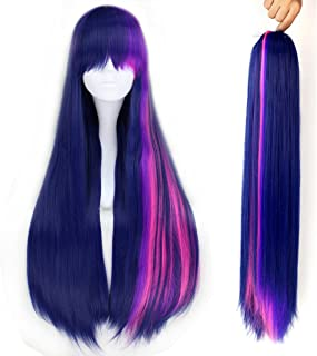 70cm Long Straight Mixed Purple Pink Strands Cosplay Anime Wig Claw Ponytail Set