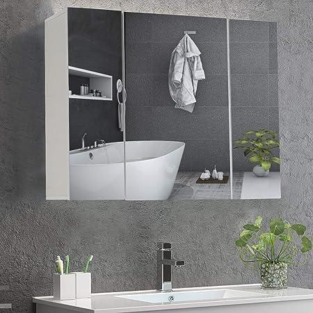 DICTAC Meuble Miroir Salle de Bain 70×15×60cm armoires murales avec Miroir Meuble Salle de Bain Miroir Mural Armoire de Toilettes avec 3 Portes Miroir et 3 Niveaux Étagères à Hauteur Réglable Blanc