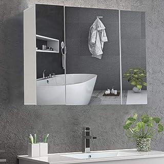 DICTAC Meuble Miroir Salle de Bain 70×15×60cm armoires murales avec Miroir Meuble Salle de Bain Miroir Mural Armoire de To...