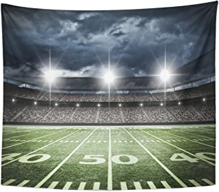 Emvency Tapestry Stadium American Football Satdium Field Light Night Soccer Turf Home Decor Wall Hanging for Living Room Bedroom Dorm 50x60 Inches