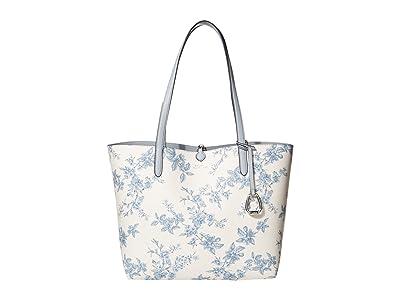 LAUREN Ralph Lauren Faux Pebble Grain Reversible Tote Medium (Garden Floral/Sky) Handbags