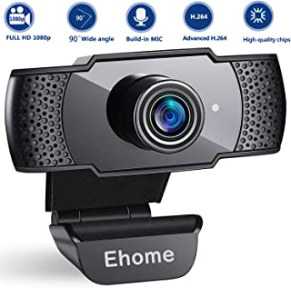 1080P Webcam with Microphone USB 2.0 PC Laptop Desktop Web Camera for Video Calling Studying Online Class Conference Recording, Gaming with Rotatable Clip