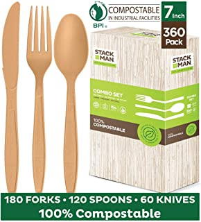 Stack Man Disposable Cutlery Set [360 Pack] 100% Compostable Plastic Silverware, Large Premium Heavy-Duty Flatware Utensils Eco Friendly BPi Certified, 7.5 Inch, Natural Wood Color Tableware