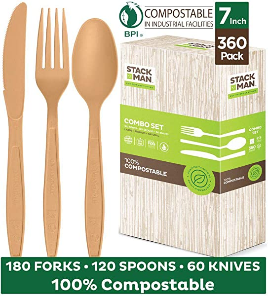 Stack Man Disposable Cutlery Set 360 Pack 100 Compostable Plastic Silverware Large Premium Heavy Duty Flatware Utensils Eco Friendly BPi Certified 7 5 Inch Natural Wood Color Tableware