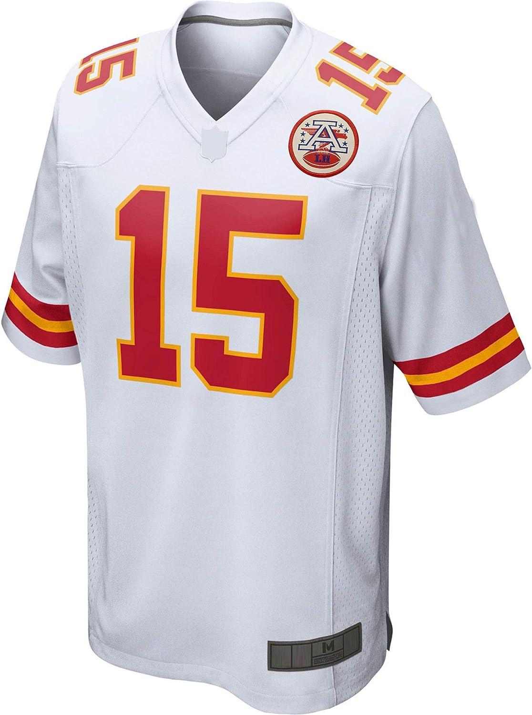 TOPSTEE Custom American Football Jersey camisetas Patrick Kansas City #15 Blanco Mahomes Jefes del Juego Jersey de secado r/ápido ropa deportiva para los hombres