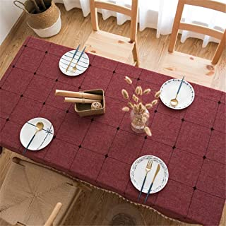 MAOJIU Tablecloth, Chinese Style Coffee Table Tablecloth Embroidered Cotton Linen Tablecloth Thickening Anti-scalding Anti-Pollution Waterproof Small Fresh Tassel Tablecloth Table Cloth