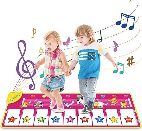 Vimzone Tapis Musical Bébé, Tapis de Piano Musical Tapis de Danse, Tapis Musical Bébé Piano Tapis de Jeu Musical Inst...