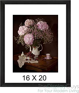 The Display Guys 16x20 Black Onyx Picture Frame - Walnut Wood Finish, Tempered Glass, matted for 11x14 Photo