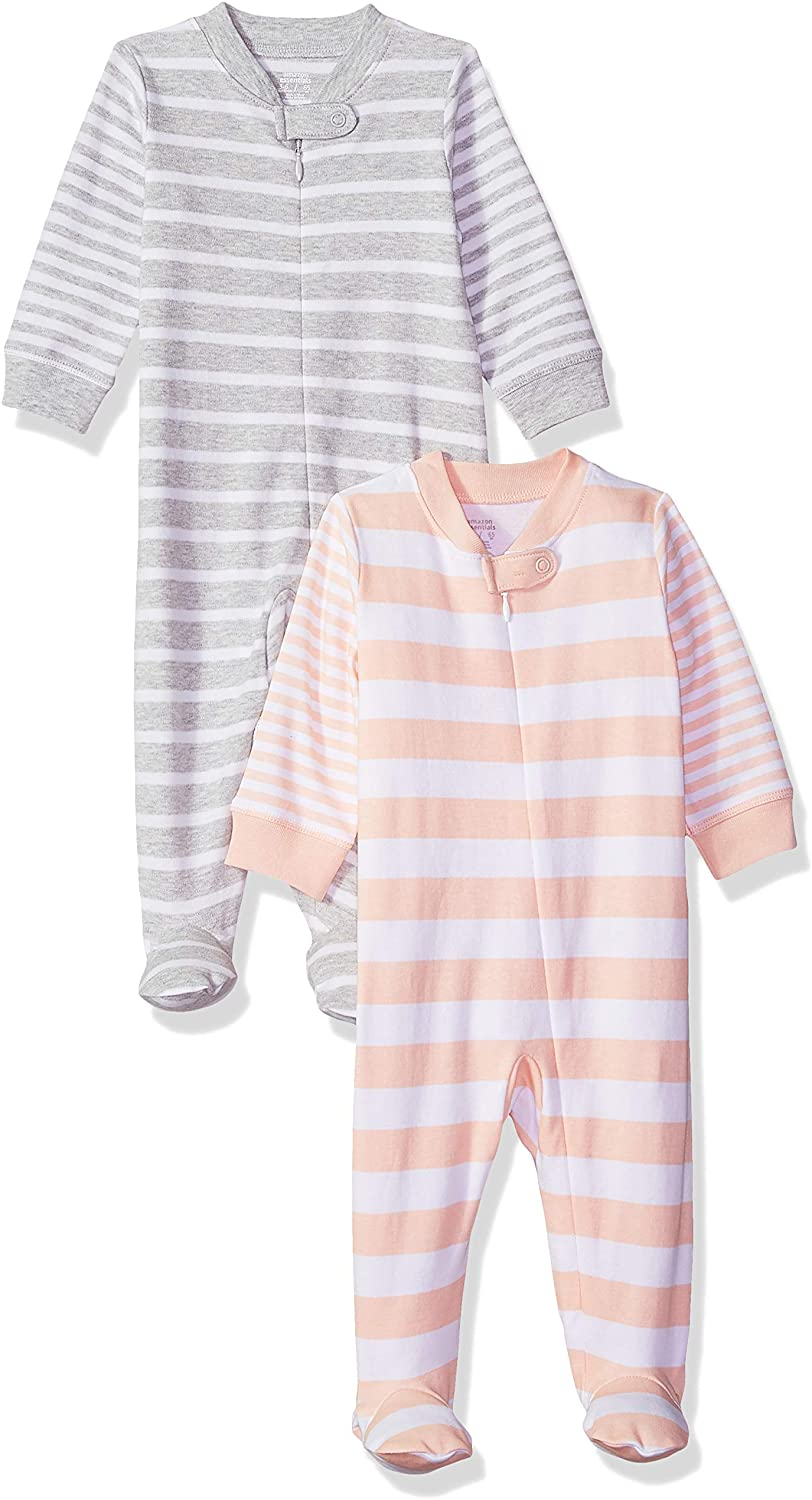 Amazon Essentials Baby Cotton Footed Zip-Front 2-Pack Sleep and Play