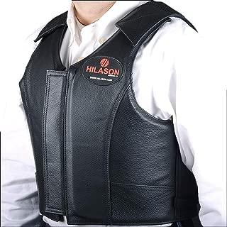 HILASON Leather Bareback Pro Rodeo Horse Riding Protective Vest - Black