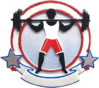 Personalized Weight-Lifter Christmas Tree Ornament 2019 - Boy Athlete Workout Barbell Loaded with Plates Dumbbell Gym Addict Body Building Hobby Cross-fit Trainer Gift Year - Free Customization