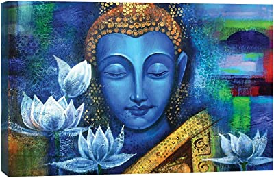 ARTAMORI Blue Buddha with Lotus Canavs Painting