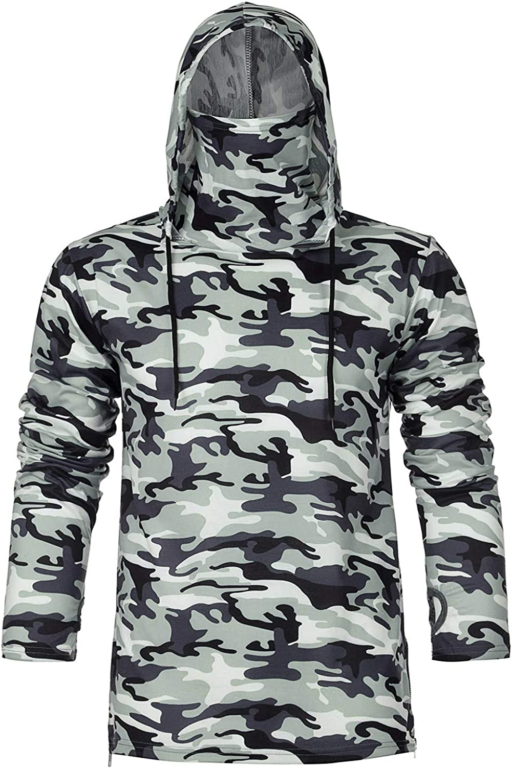 Mens Athletic Hipster Camouflage-Mask Fishing Hoodies Pullover Lightweight Long Sleeve Workout Sweatshirts