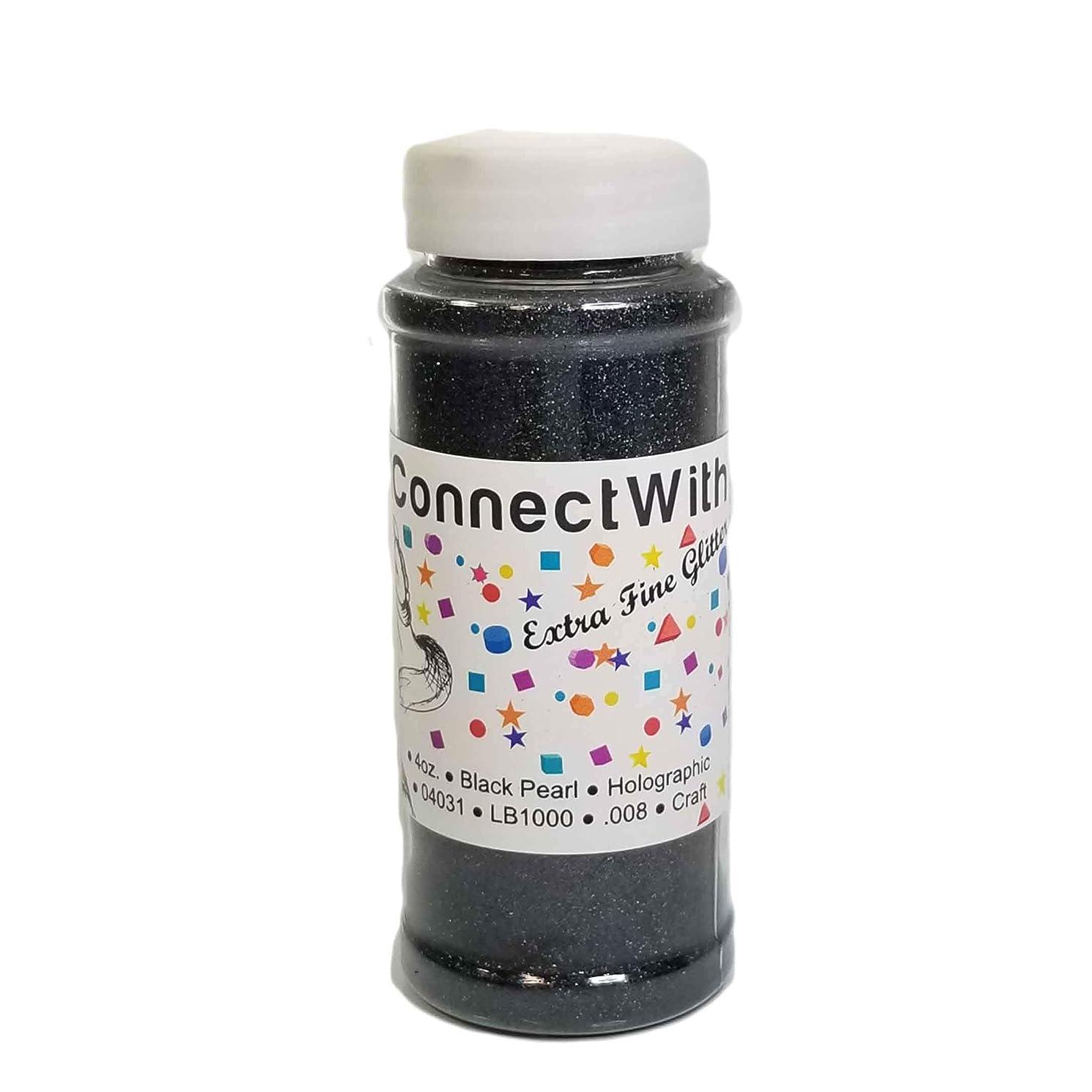 Black Pearl, Extra Fine Glitter, 4oz Shaker Bottle, Holographic Glitter