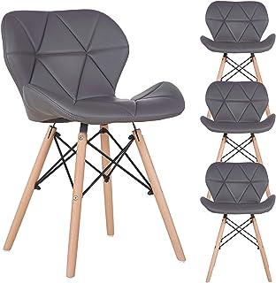 N A to MUEBLES HOME - Juego de 4 sillas de comedor estilo de mediados de siglo retro moderno tapizadas con piel sintét...
