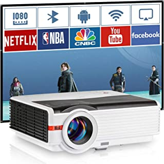 2020 Smart WiFi Projector, 5000 Lumen Full HD 1080P Supported Wireless Bluetooth Projector with Smart Phone, Laptop, PC, R...