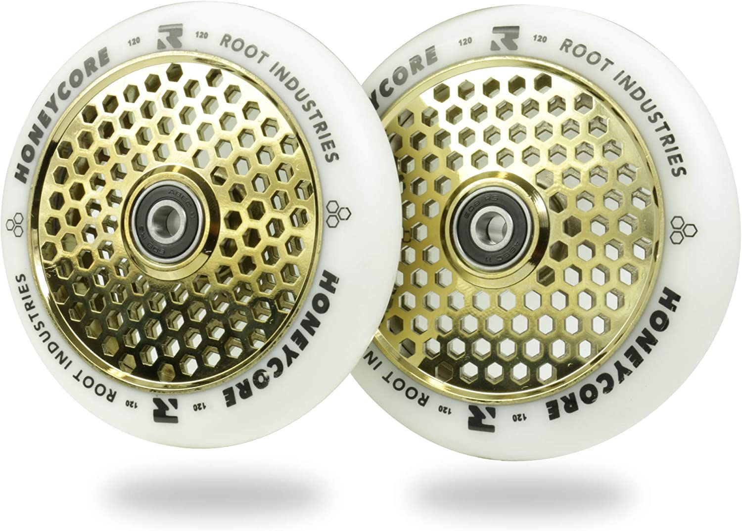 24mm x 110mm 120mm Fits Most Setups Scooter Wheels 120mm Pro Scooter Wheels Pair ROOT INDUSTRIES Honeycore Wheels 110mm Bearings Installed 90 Day Warranty