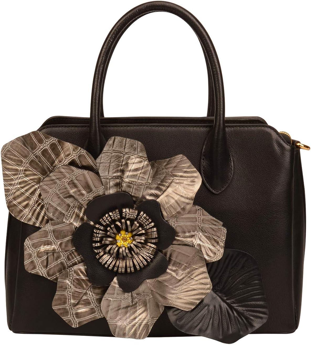 Women's Genuine Leather Flower Top Handle Handbags Designer Purse For Business