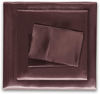 HONEYMOON HOME FASHIONS Satin Sheets Queen 4 Pieces Chocolate
