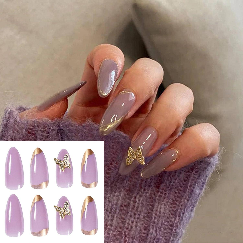 N\C Cheap bargain 24pcs False Nails with Design Oakland Mall Pearl Lo Fake Rhinestone