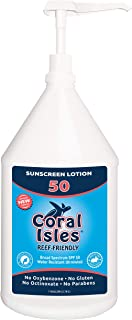 SPF 50 Bulk Gallon 128 oz Coral Isles REEF FRIENDLY & Safe Sunscreen Lotion - Broad Spectrum, NO Oxybenzone, NO Octinoxate, NO Parabens, Water Resistant 80 min