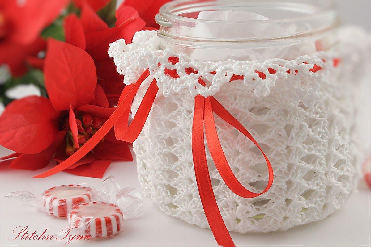 Mason Jar Wrap Max 77% OFF White Lace 5 popular Sleeve by Candle StitchnTyme