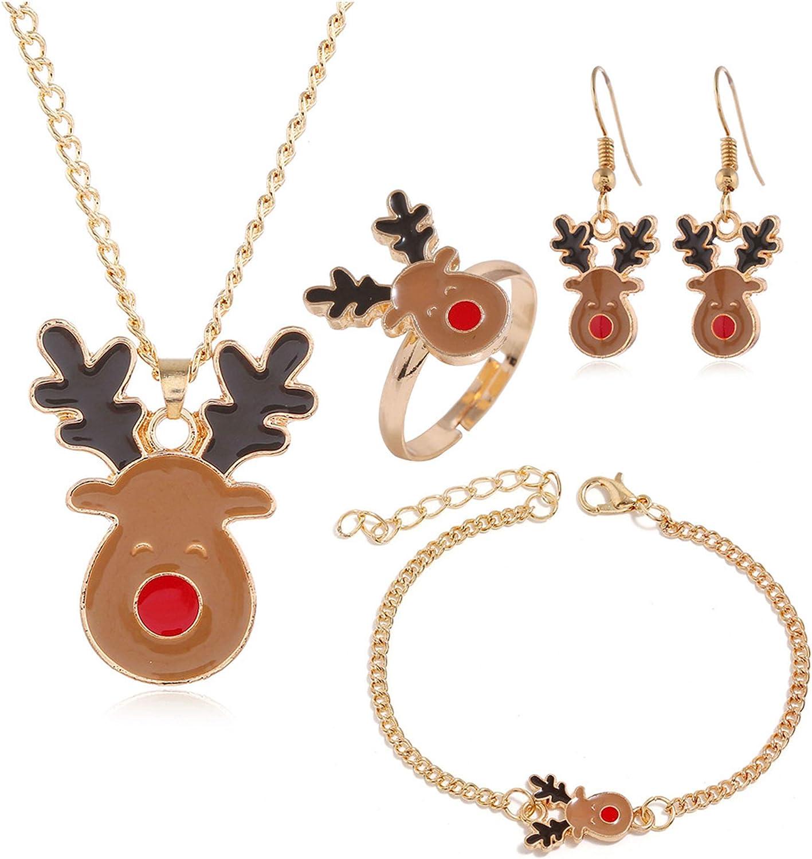 4 Pcs Dainty Christmas Jewelry Sets Christmas Tree Elk Jingle Bells Brown Reindeer Pendant Necklace Earrings Rings Bracelets for Women Girls Thanksgiving Xmas Holiday Jewelry-B Brown Reindeer