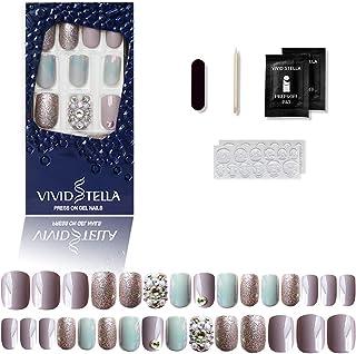 Diamante Premere Sulle Unghie Finte Lucide Dell'ologramma Grigio 12 Diverse Dimensioni Luccichio Suggerimenti per Nail Art...
