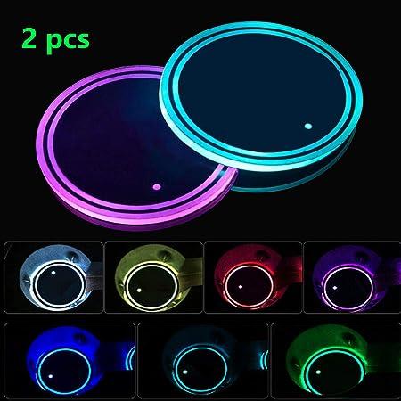 Boao 2 Stücke Led Getränkehalter Lichter Led Auto Untersetzer 7 Farben Leuchtende Tasse Pad Usb Lade Tasse Matte Für Getränk Untersetzer Zubehör Innendekoration Atmosphäre Licht Auto