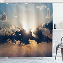 Ambesonne Apartment Decor Collection, Sundown Through Dark Clouds Summertime Twilight Overcast Sky Scenic Picture, Polyester Fabric Bathroom Shower Curtain Set with Hooks, Orange Black
