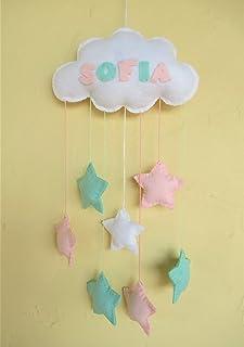 Móvil bebé nube de fieltro con estrellas rosa verde menta y blanco Regalo
