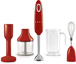 Smeg HBF02RDUK, 50's Retro Style Aesthetic Hand Blender with Accessories, Variable Speed, Turbo Function, Stainless Steel ...