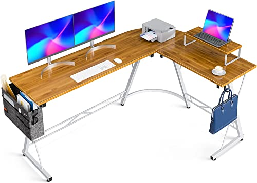 "popular Casaottima L Shaped Desk, 66"" Gaming Desk, Computer Desk, L Desk, Home Office Desk outlet sale with Iron Hook, new arrival Movable Monitor Stand Workstation, Bamboo online"