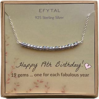 EFYTAL 19th Birthday Gifts for Women, Girls Sterling Silver Necklace For Her, 19 beads for 19 Year Old Girl, Jewelry Gift Idea