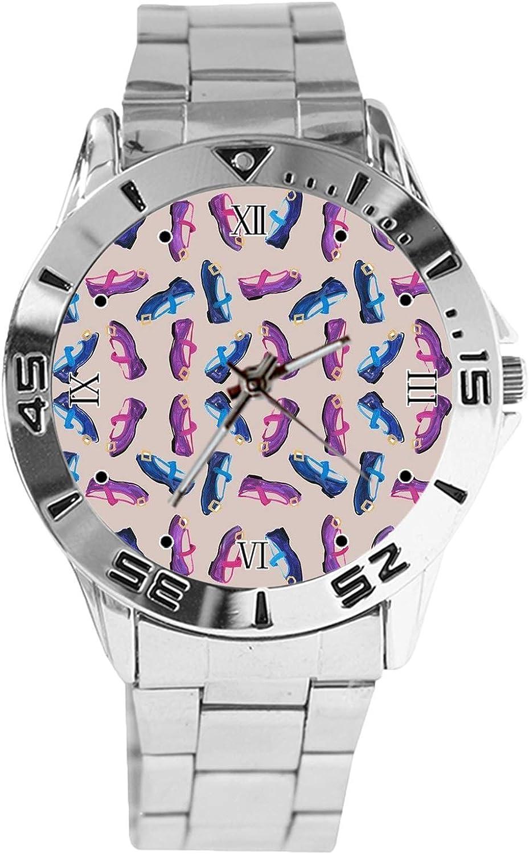 Many Purple Shoes Design Analog Wrist Quartz Dial Watch C Max 62% 1 year warranty OFF Silver