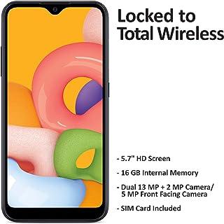 Total Wireless Samsung Galaxy A01 4G LTE Prepaid Smartphone - Black - 16GB - Sim Card Included -CDMA