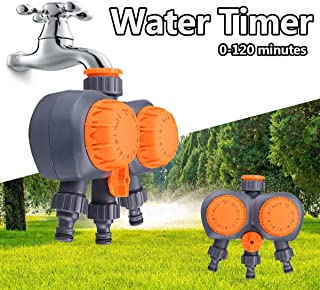 Oteshina 2 Head Automatic Electronic Water Timer Valve Mechanical Timing Flow Switch Garden Irrigation - Garden Timers Programmable Controller Solar Timer Orbit Water