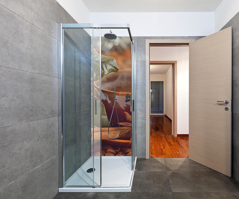 Wandmotiv24 Duschrückwand Zimt, Anis und Kaffee 70 x 200cm (B x H) - Aluminium 3mm Duschwand Design, Keine Fugen M0828