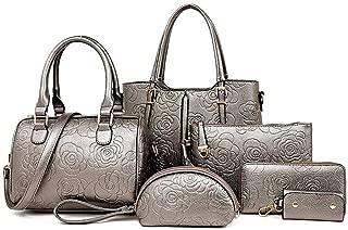 6-Piece Plaid Ladies Handbag Shoulder Bag Satchels Top Handle Shoulder Crossbody Bags (Color : Grey, Size : L)