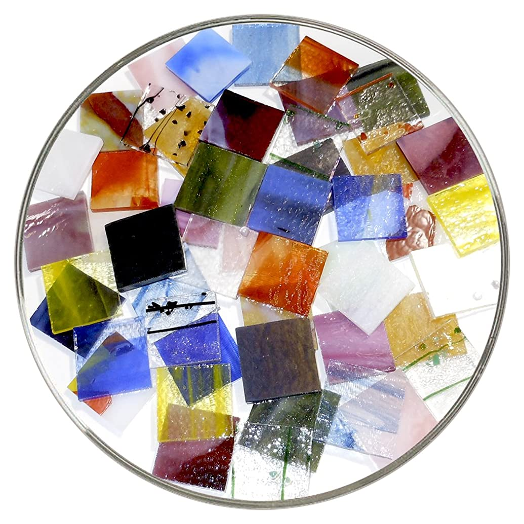 Bullseye Glass Specialty Pre-Cut 1-Inch Square Mix - Larger 18 Piece Pack - 90 COE