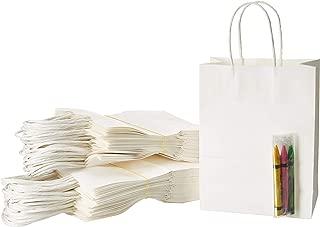 Kraft Paper Bags with Handles, White Color - Bulk 50 PCS, 5.25x3.75x8
