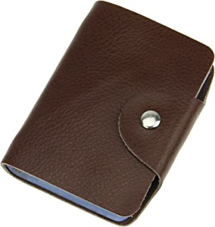 Holiberty Soft Genuine Cowhide Leather ID Credit Business Name Card Case Holder Book Wallet Organizer Pure Color Gift - Coffee