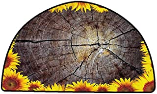 Non-Slip Bath Hotel Mats Sunflower Decor Collection,Cut Section of Wood Stump Tree Trunk Framed with Sunflowers Rustic Ornamental Image,Yellow Brown,W30 x L18 Half Round Rugs for Sale