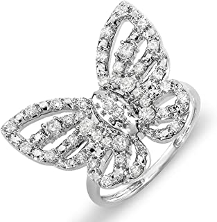 Dazzlingrock Collection 0.70 Carat (ctw) 10k Round Diamond Ladies Butterfly Cocktail Right Hand Ring 3/4 CT, White Gold
