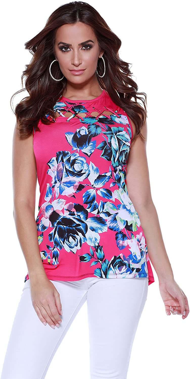 Belldini ALine Floral Swing Tank with Laced Cutout