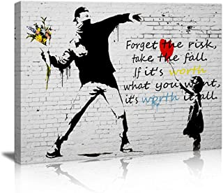 Canvas Prints Wall Art for Bedroom Balloon Girl and Rage The Flower Thrower Banksy Street Art Graffiti Guy Small Framed Artwork Black and White Wall Decor Pics Office Restaurant bar for Living Room