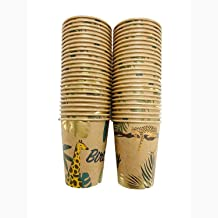 50 Disposable Jungle Theme Cups 9 oz Brown Kraft Paper with Gold Foil for Birthday Party Supplies (9oz x 50pcs)