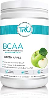 TRU BCAA, Plant Based Branched Chain Amino Acids, Vegan Friendly, Zero Calories, No artificials sweeteners or Dyes, Improve Fat Loss, 50 Servings (Green Apple)